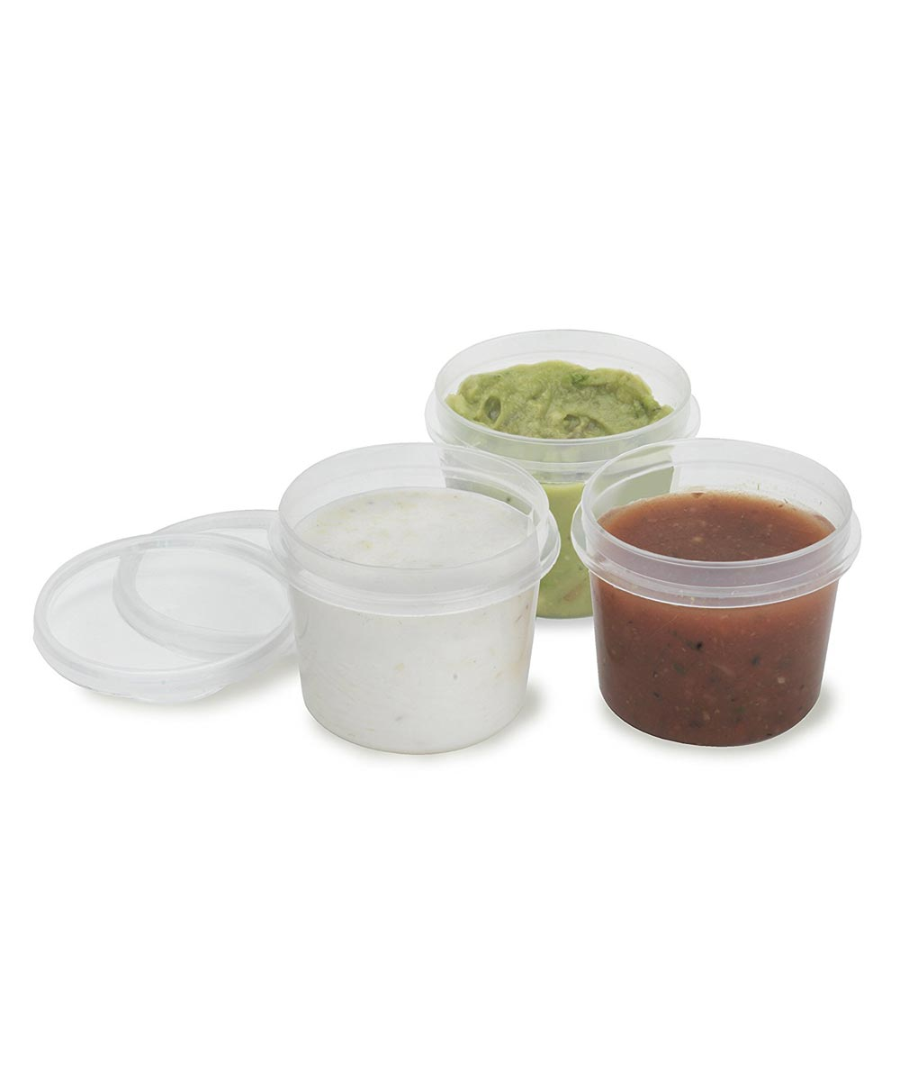 6 Piece Leak Proof Salad Dressing Cups, 1 oz, Clear