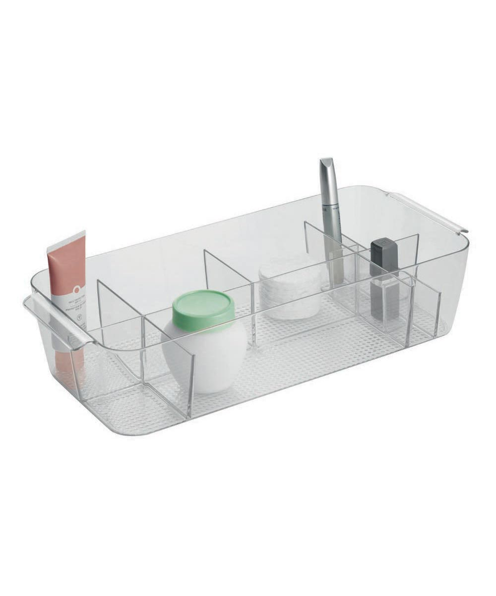 Clarity Large Divided Cosmetic Bin, Clear