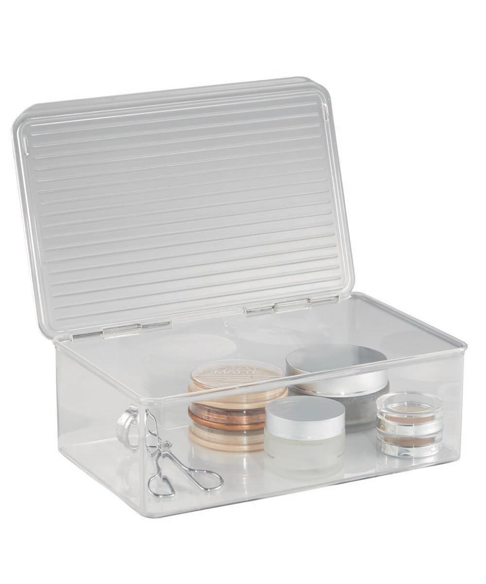 Clarity Vanity Cosmetic Organizer Box with Lid, Clear