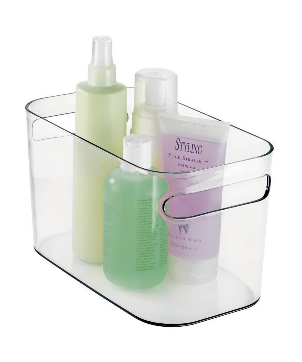 Una Clear Plastic Storage Bin, 10x6x6 Inches