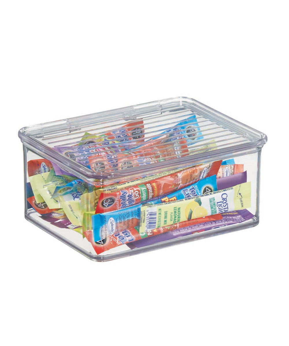 Kitchen Binz Clear Stackable Storage Box with Lid, 5.5 x 6.6 x 3.0 Inches
