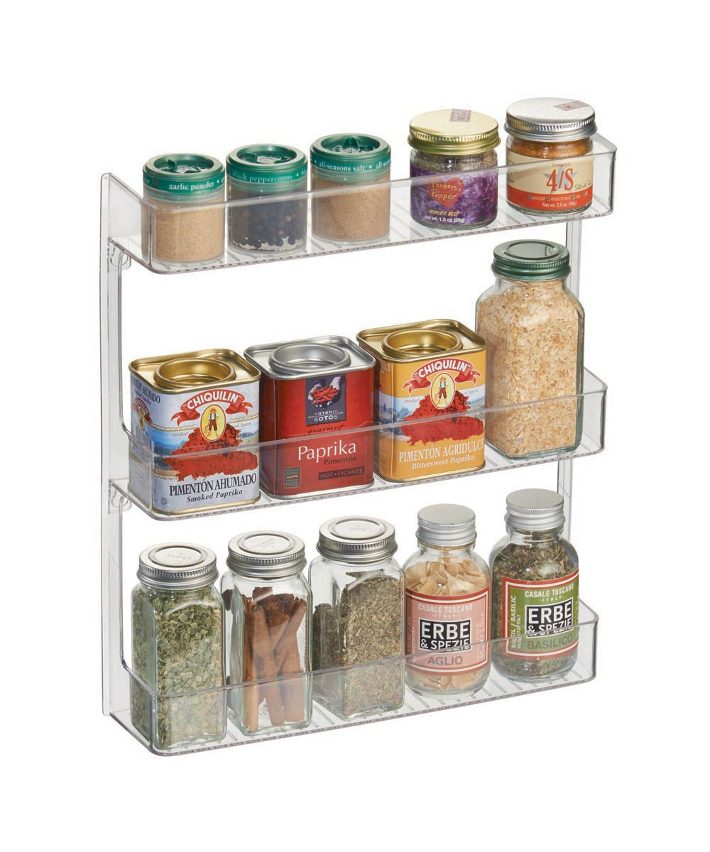 Linus 3-Tier Wall-Mounted Spice Rack, Clear