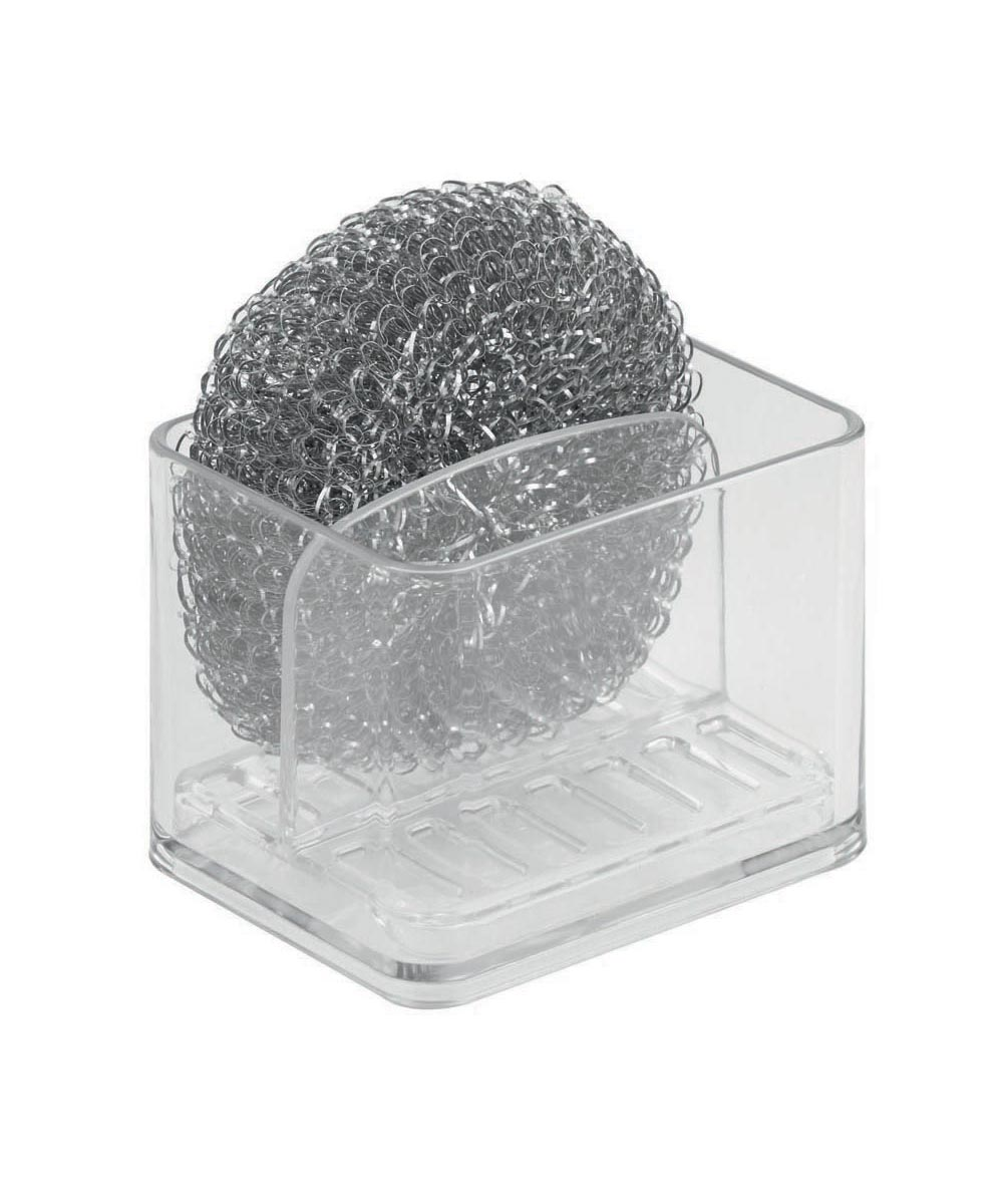 Clarity Dual Scrub Hub Kitchen Sponge Holder with Drain Tray, Clear
