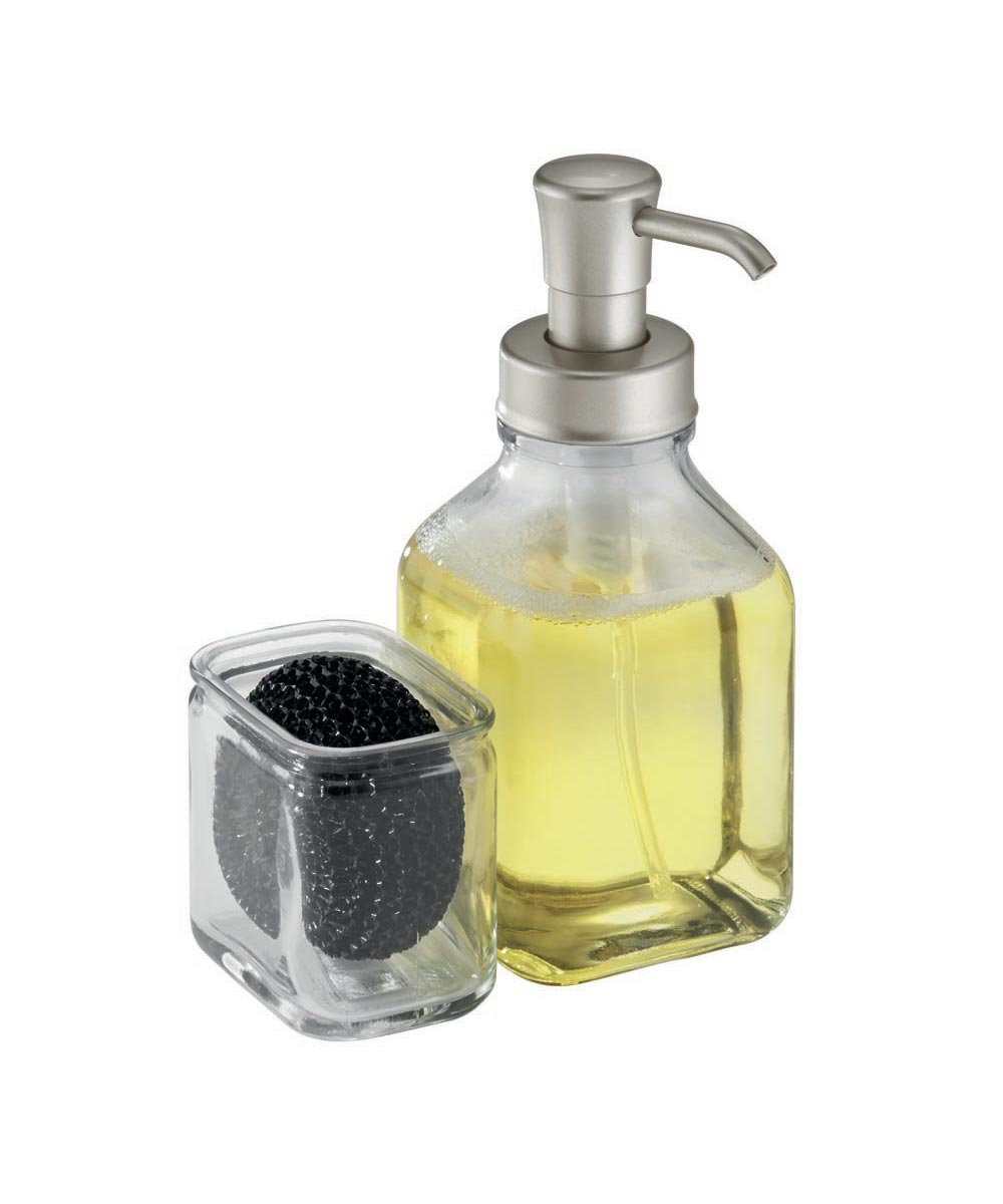 Cora Glass Soap Dispenser Pump & Sponge Holder