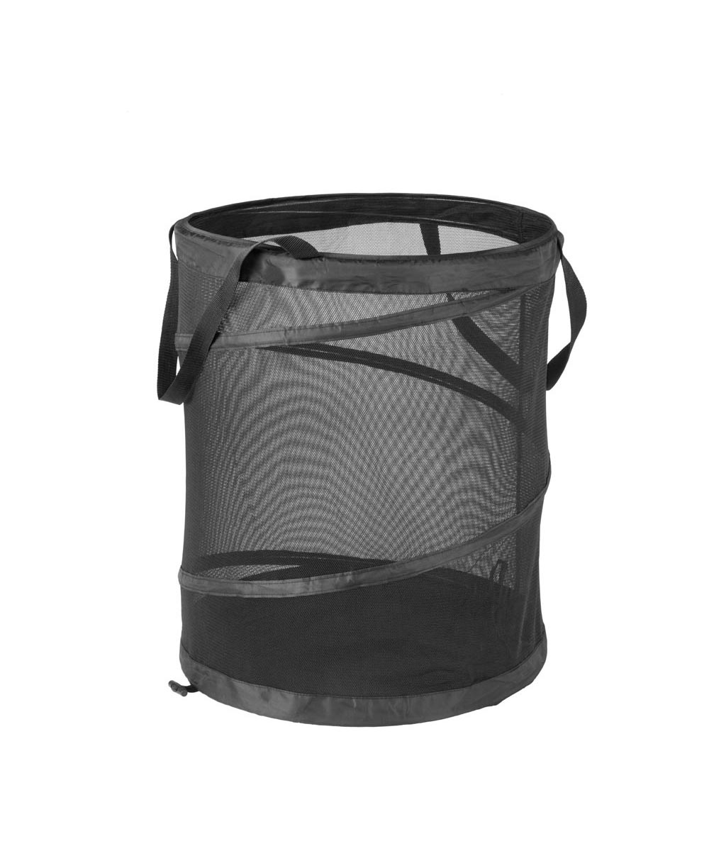Large Breathable Mesh Pop-Open Clothes Hamper, Black