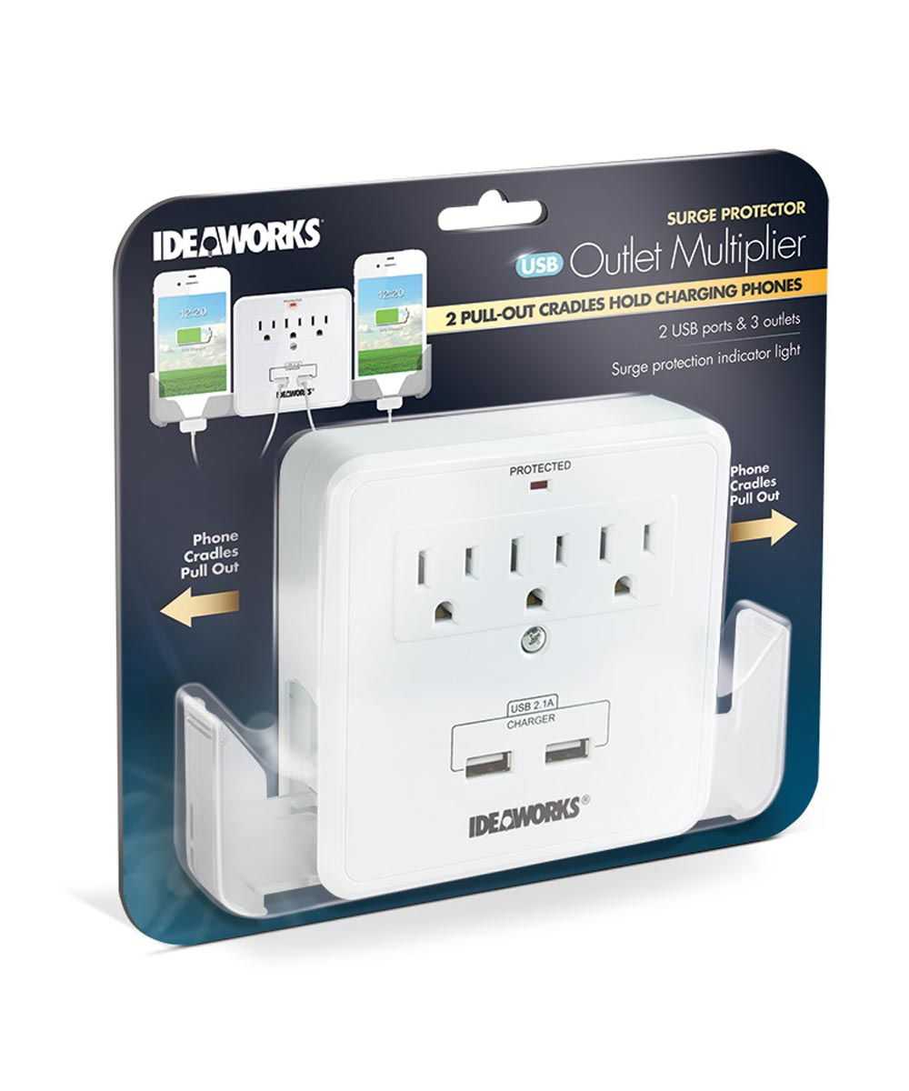 USB Outlet Multiplier with Surge Protector & Phone Cradles