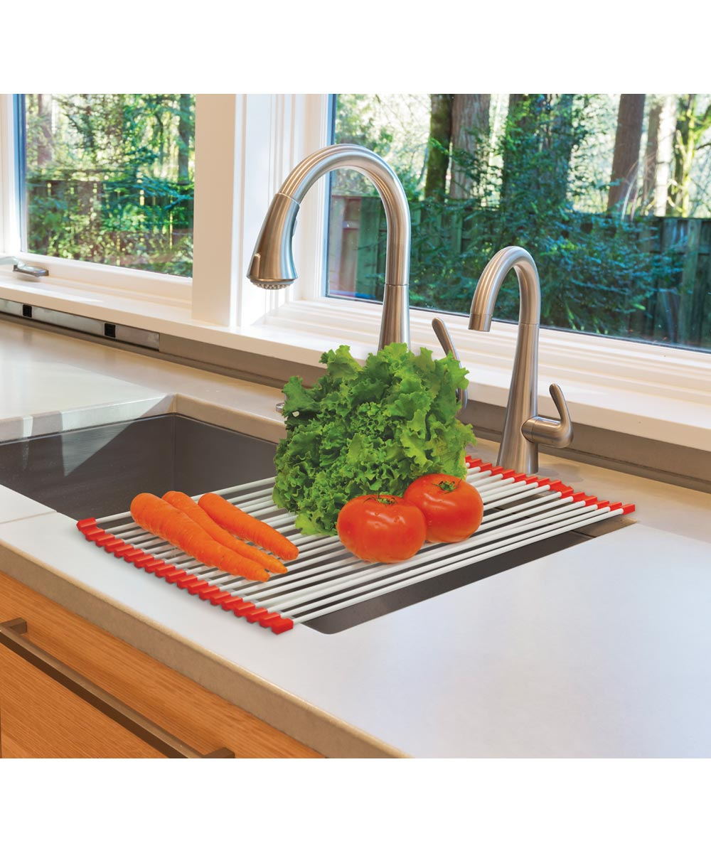 Over-the-Sink Roll Up Drying Rack for Dishes or Produce