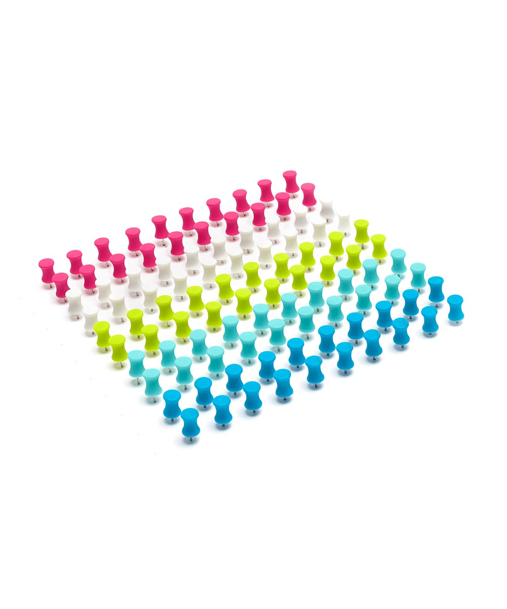 Push Pins, Multi-Color Box of 100