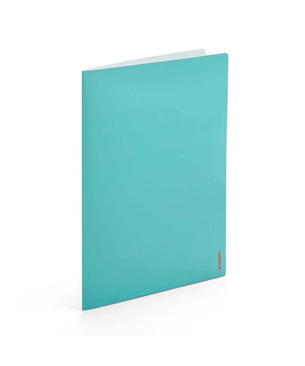 2-Pocket Poly Folder, Aqua+Coral Colors