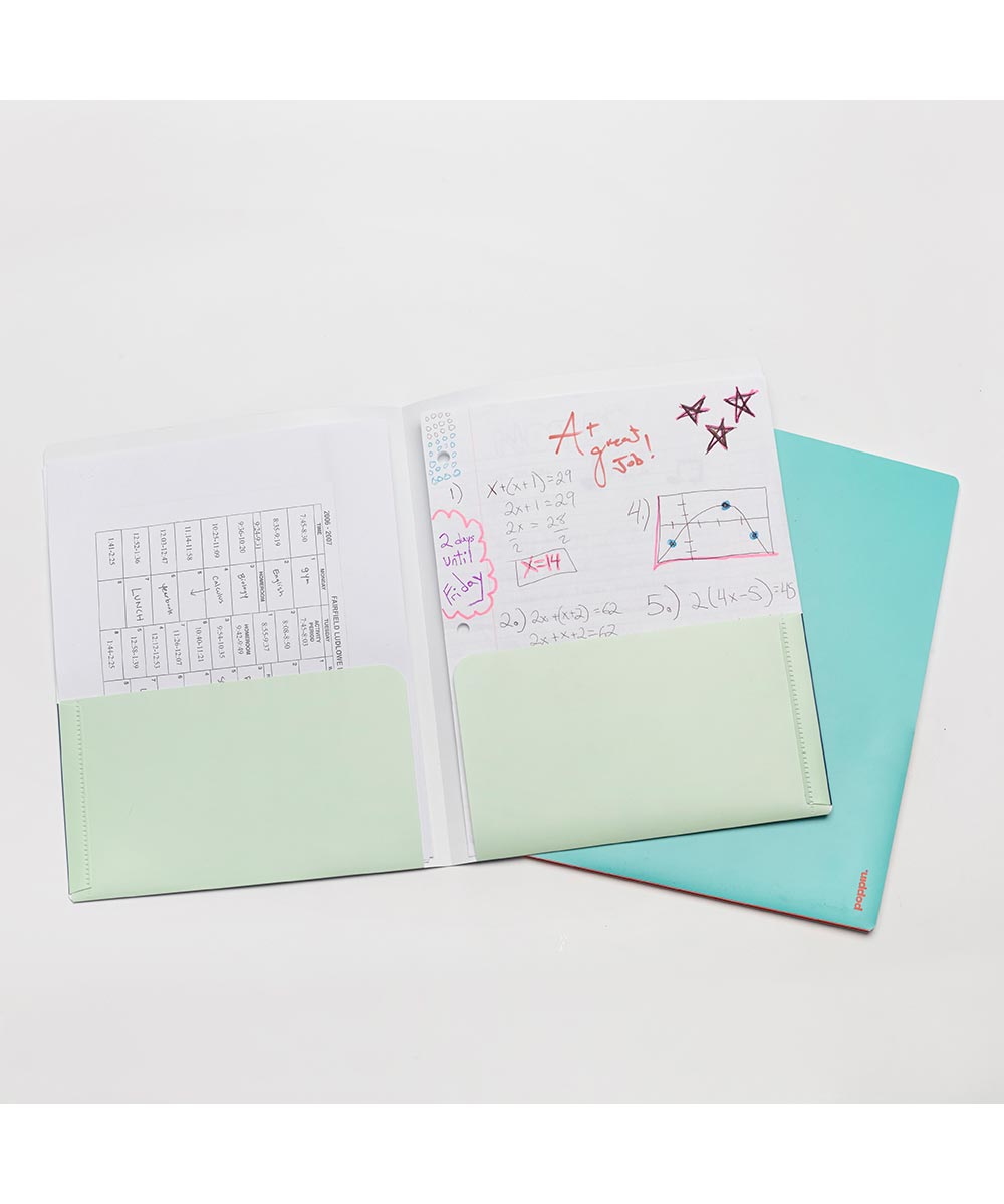 2-Pocket Poly Folder, Navy+Mint Colors