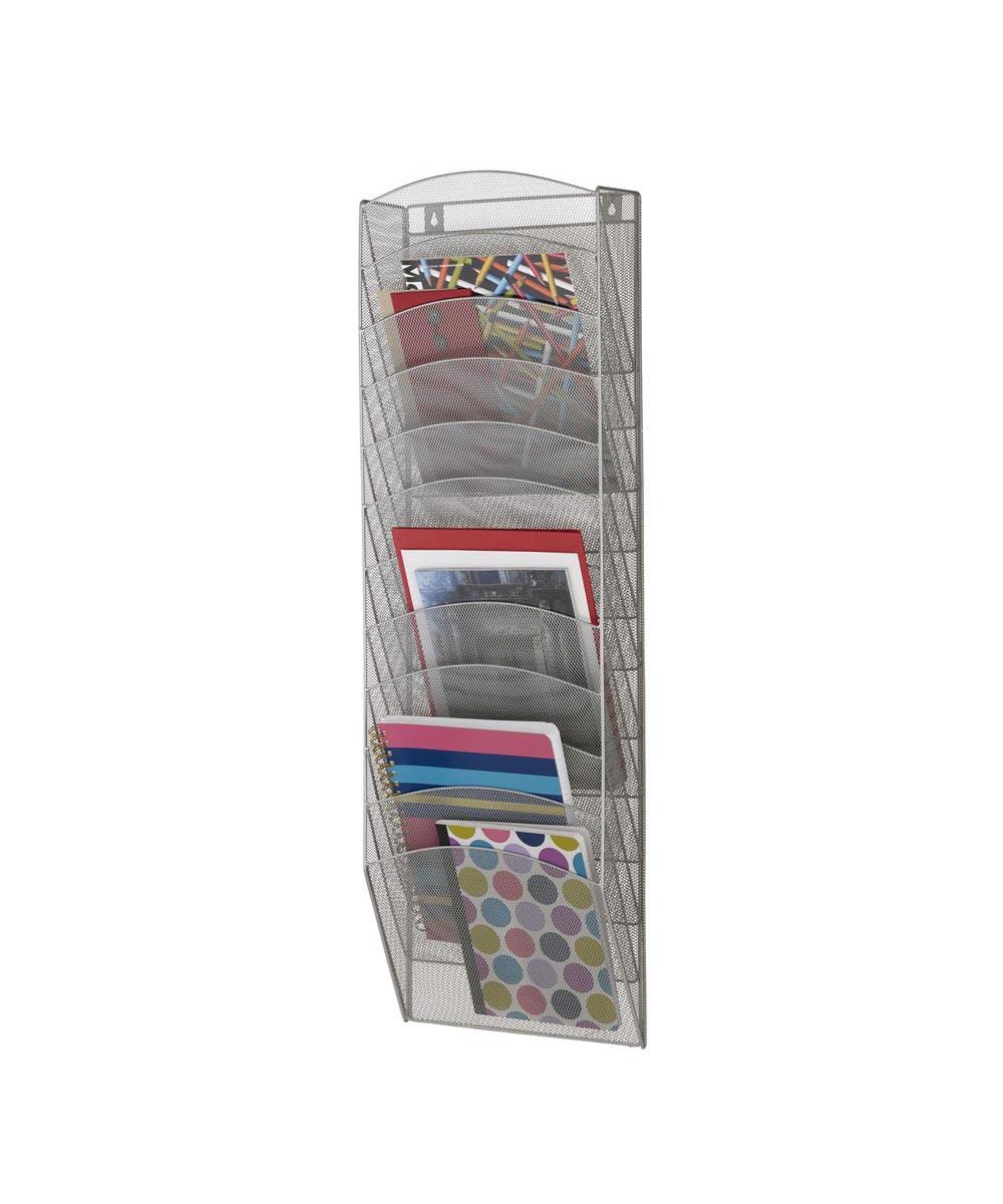 12 Pocket Mesh Magazine Wall Rack, Silver