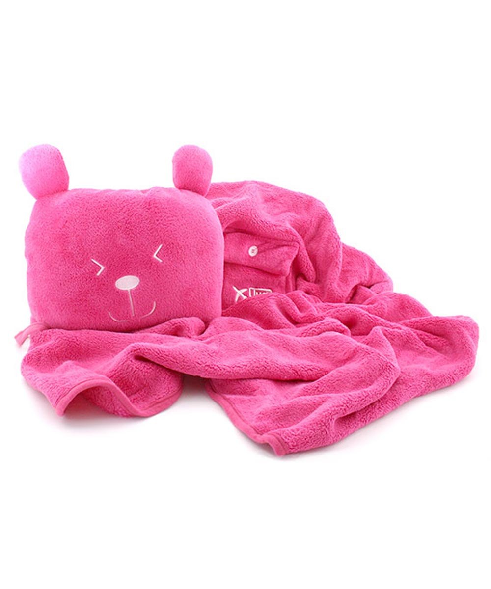 Undercover Bear Blanket & Pillow Combo, Potts Rose