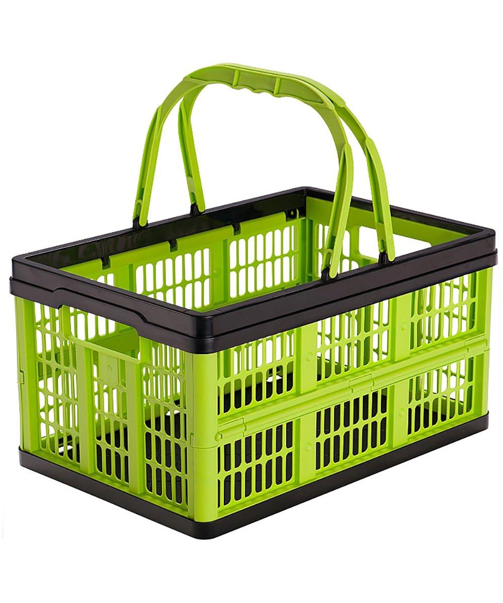 Folding Shopping Basket, 16 Liter 22 Pound Capacity, Kiwi Green