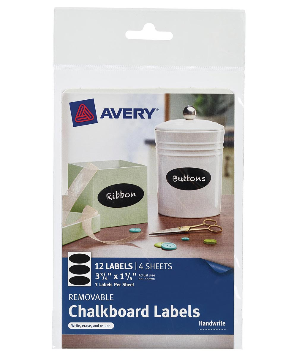 Black Removable Chalkboard Oval Labels, 12 Count