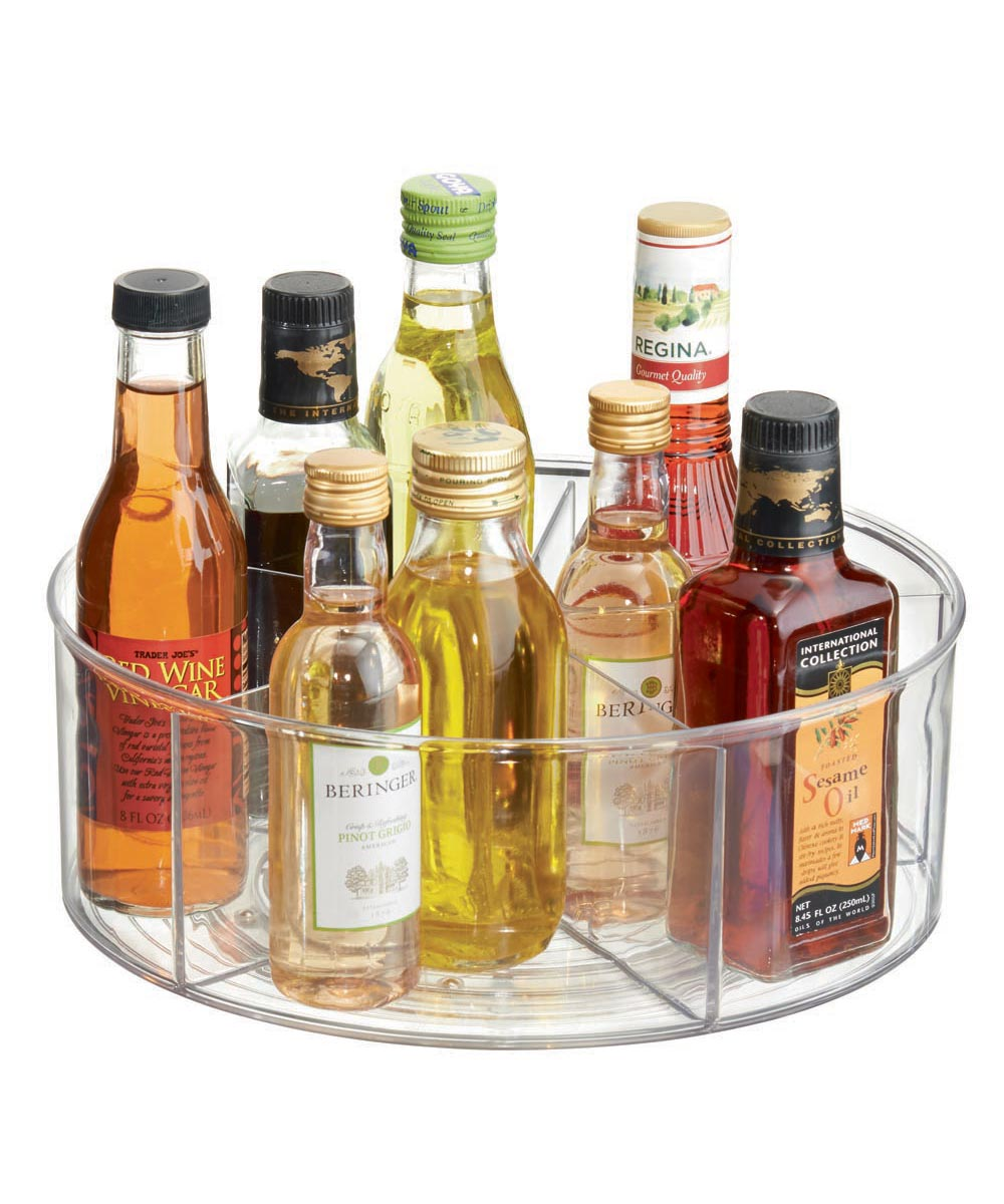 Linus Divided Lazy Susan Turntable with 5 Compartments, Clear