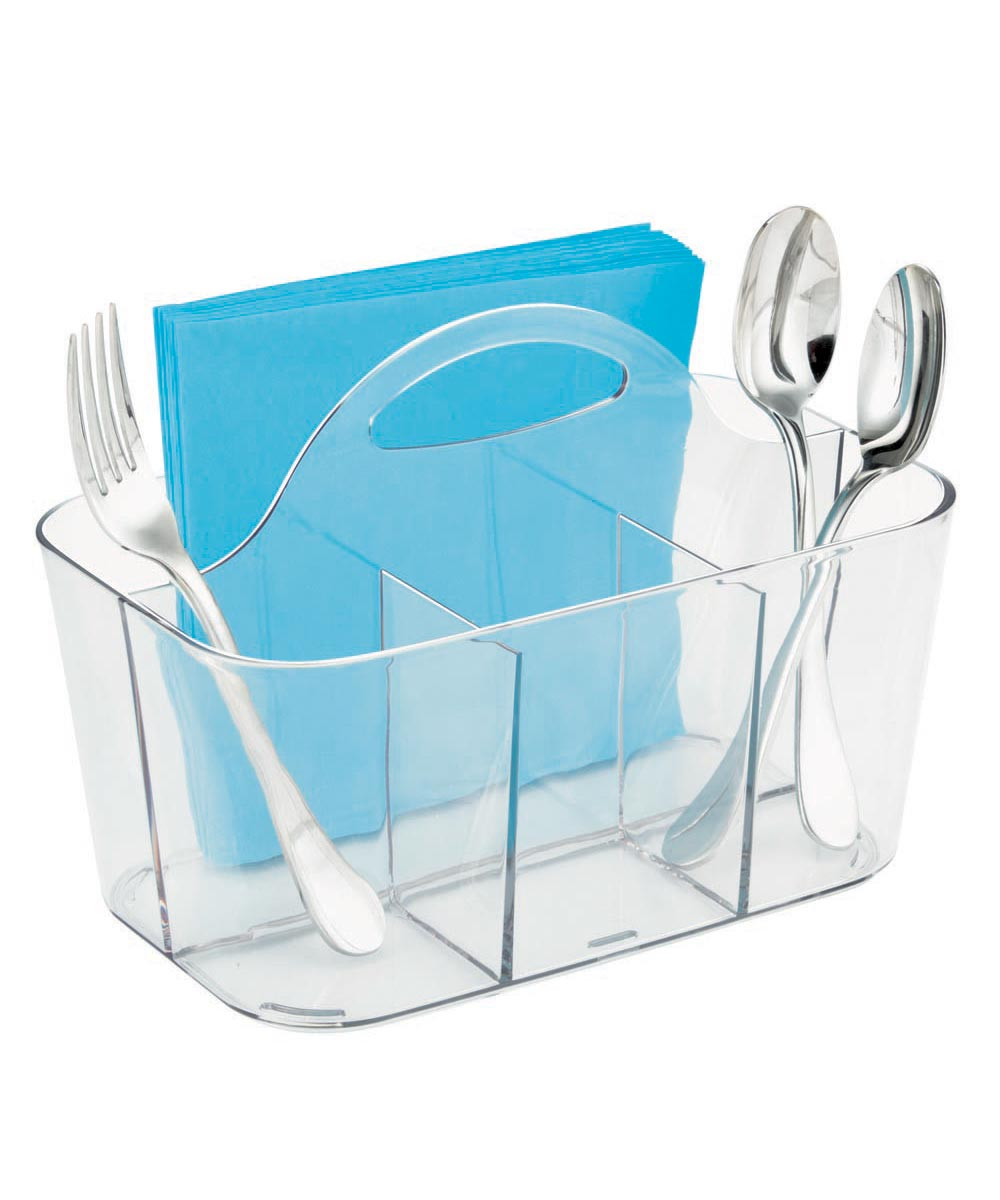 Clarity Flatware Plastic Caddy with 4 Compartments, Clear