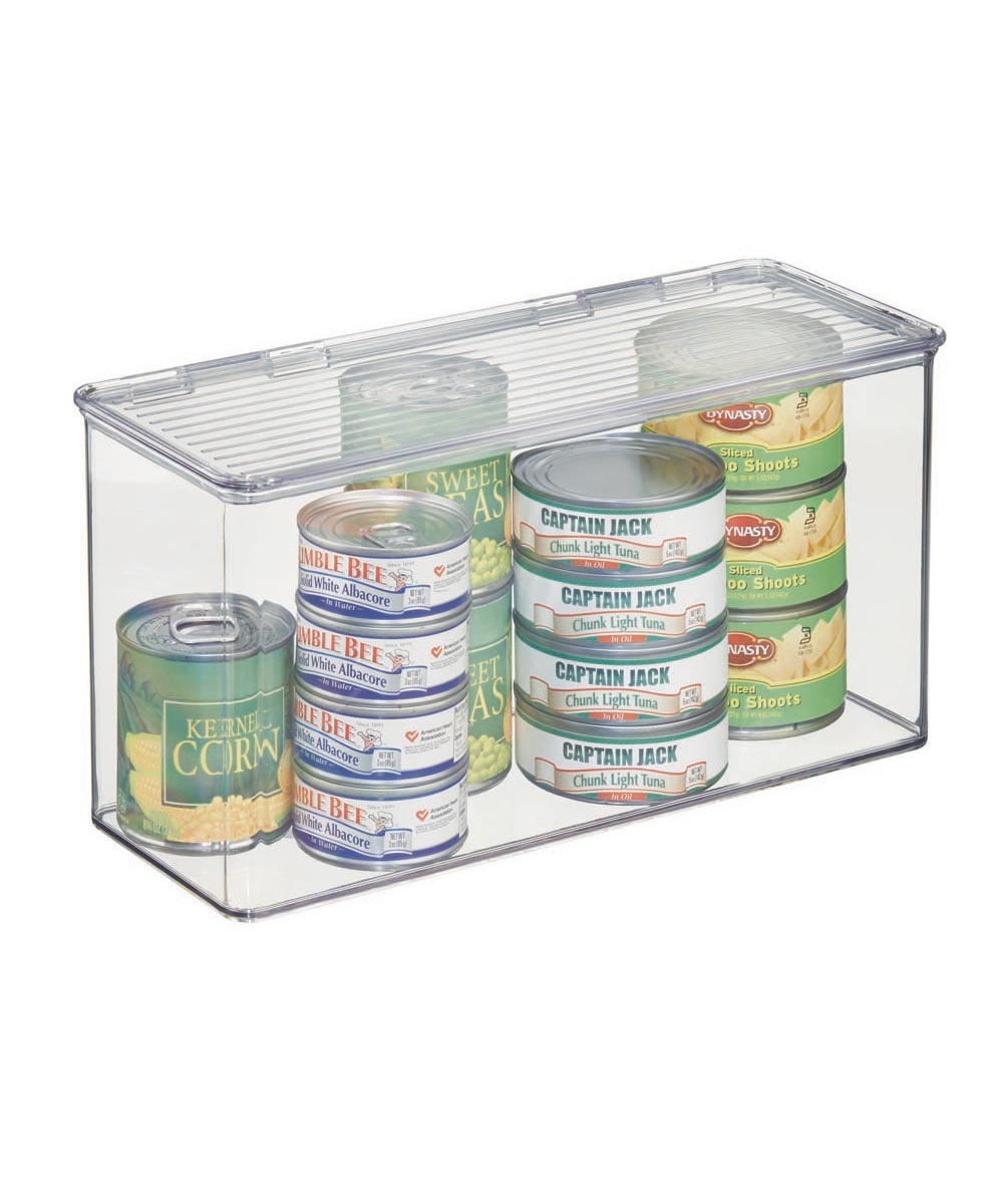 Kitchen Binz Clear Stackable Storage Box with Lid, 5.5 x 13.3 x 7 Inches