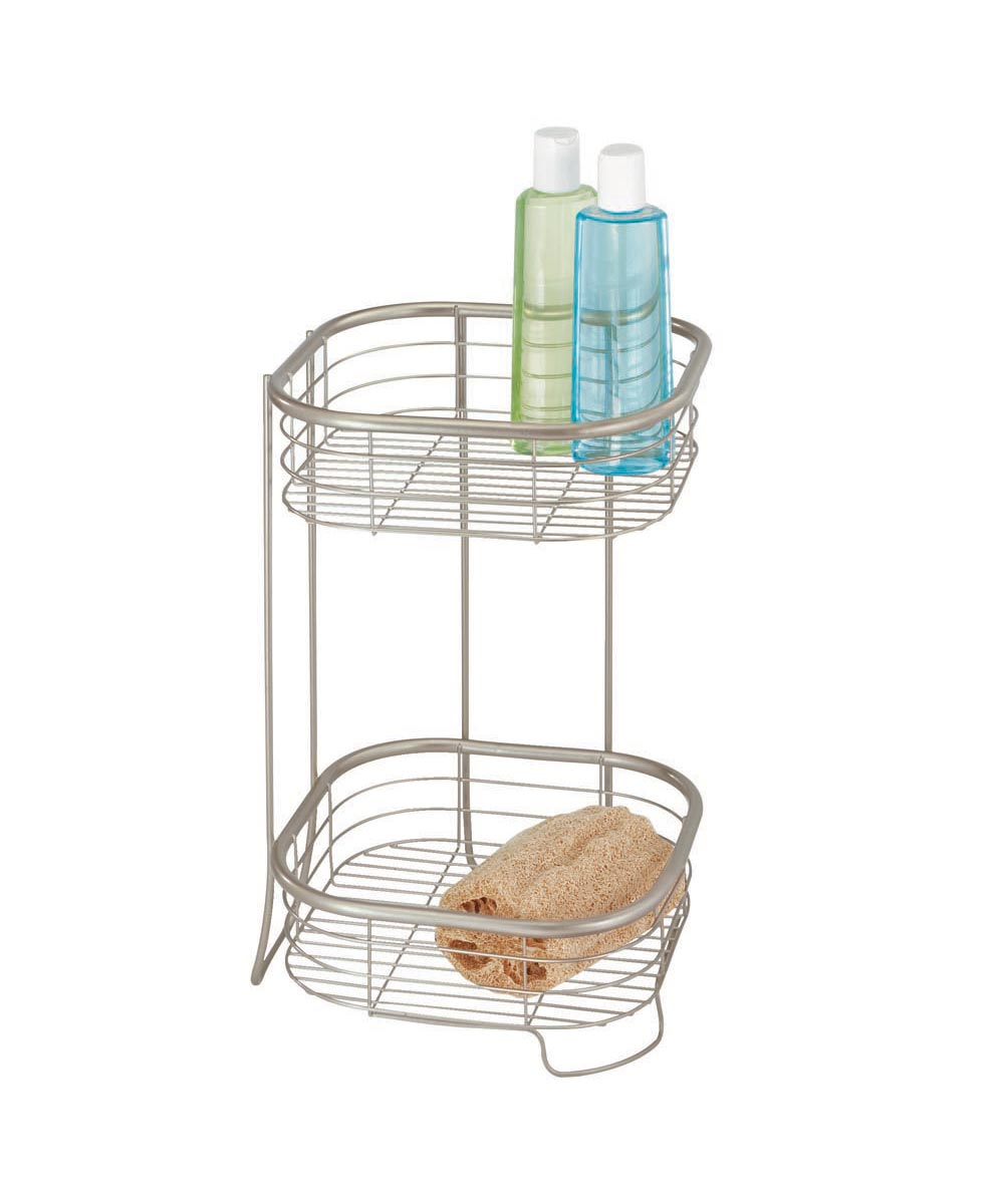 Forma 2-Tier Metal Square Shower Storage Shelf, Satin Finish