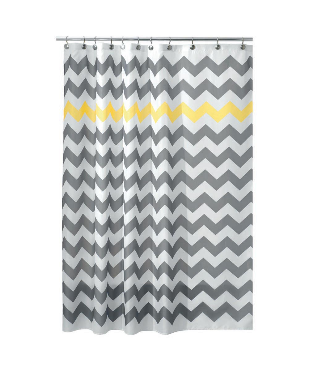 72x72 Inch Polyester Shower Curtain, Gray/Yellow Chevron Design