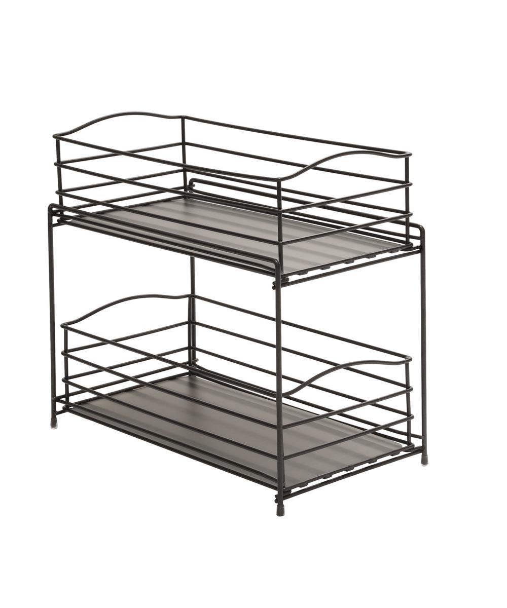 2-Tier Sliding Basket Kitchen Cabinet Organizer, Gun Metal