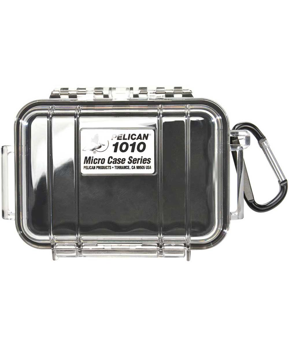 1010 Water Resistant Micro Case with Carabiner, Clear/Black