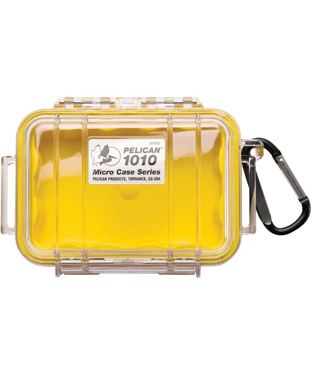 1010 Water Resistant Micro Case with Carabiner, Clear/Yellow