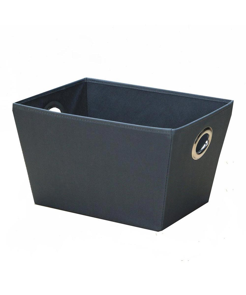 Eyelet Tote Storage Bin, Large, Charcoal Color