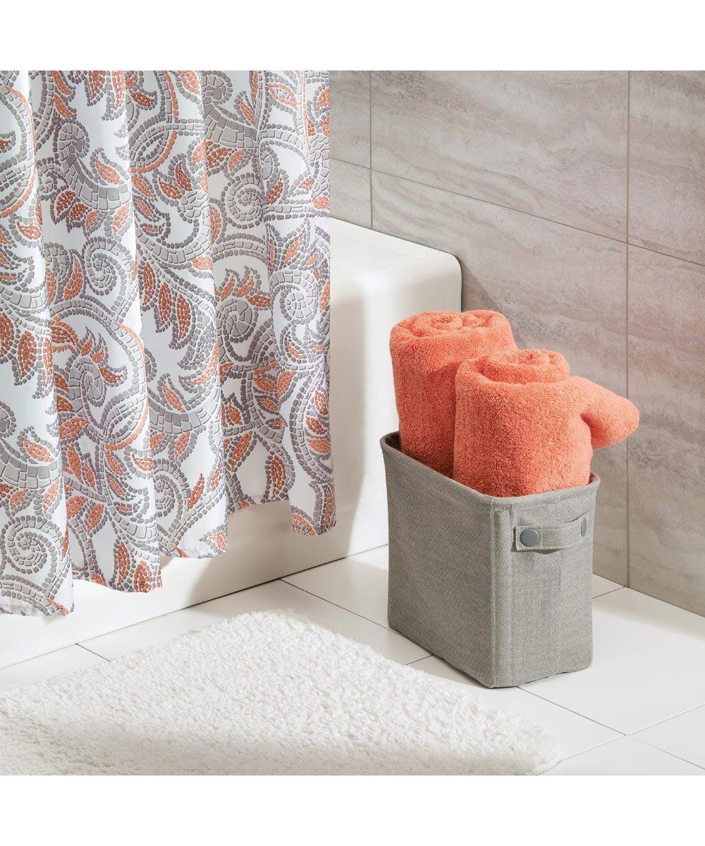 Wren Tall Cotton Fabric Storage Bin, Light Gray
