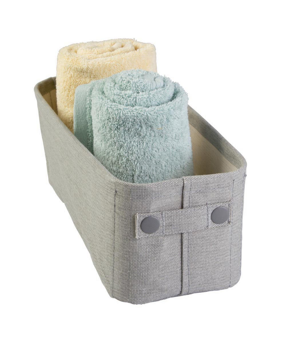 Wren Small Cotton Fabric Storage Bin, Light Gray