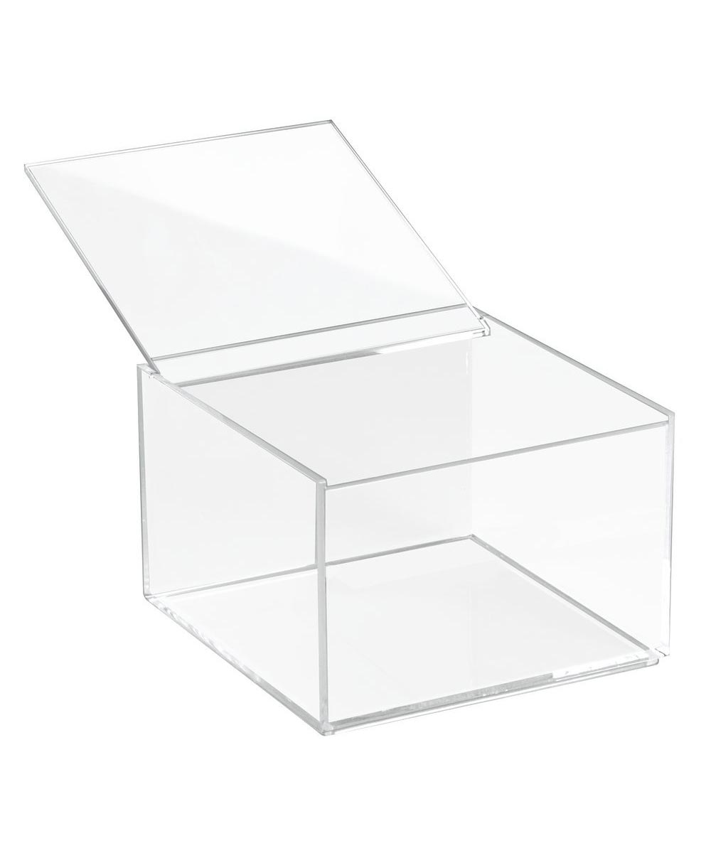 Clarity Clear Plastic Storage Box with Lid, 6x6x4 Inches