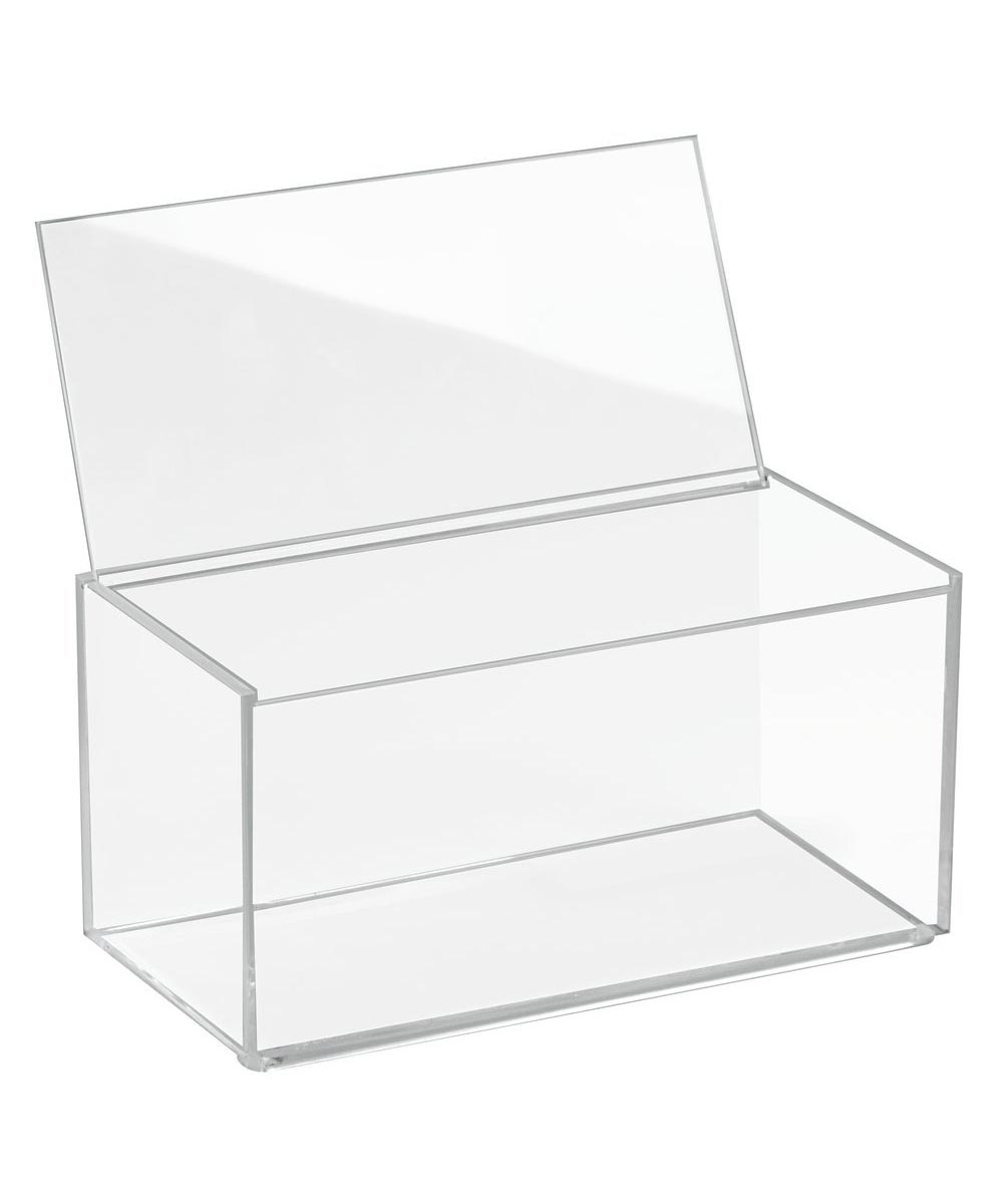 Clarity Clear Plastic Storage Box with Lid, 8x4x4 Inches
