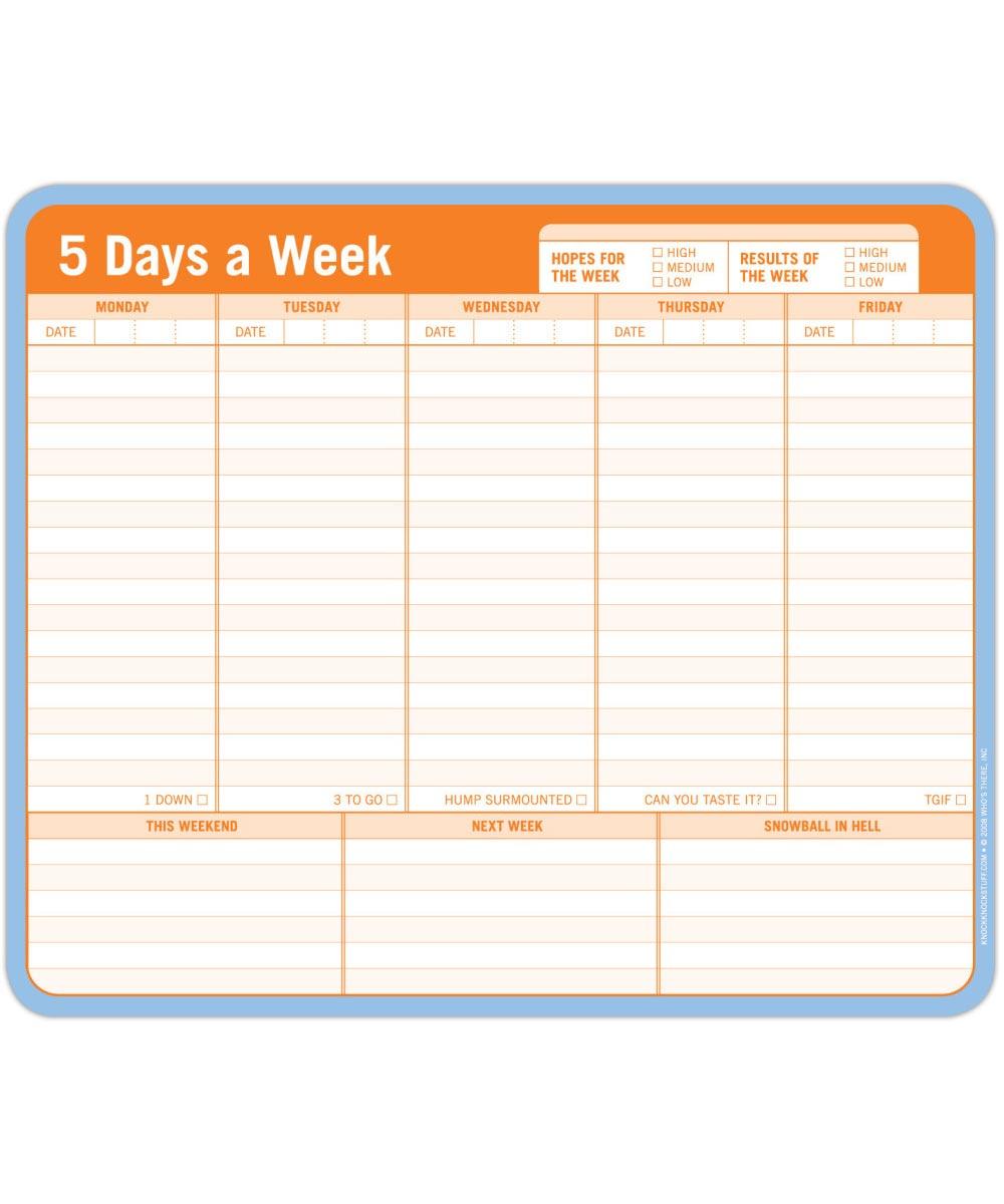 5 Days a Week Combo Writing Pad & Mousepad
