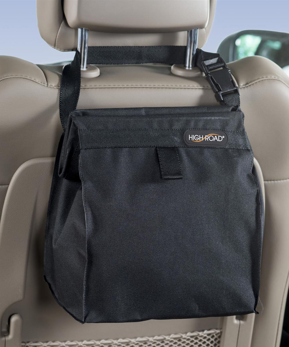 TrashStash Leakproof Hanging Car Trash Bag with Spring Frame Closure, Black