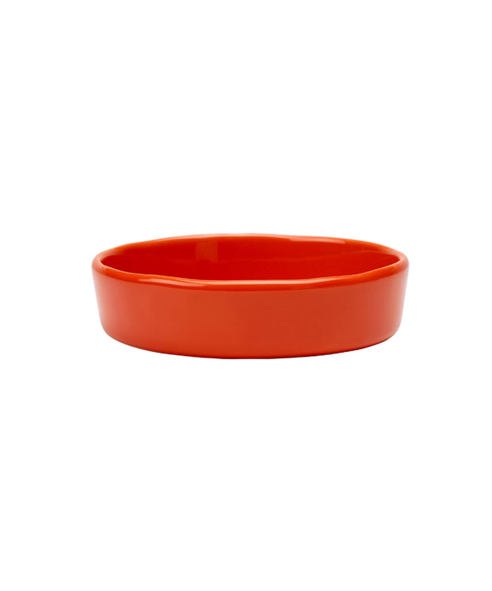 ORE' PET Etched Meow Cat Food Bowl, Persimmon