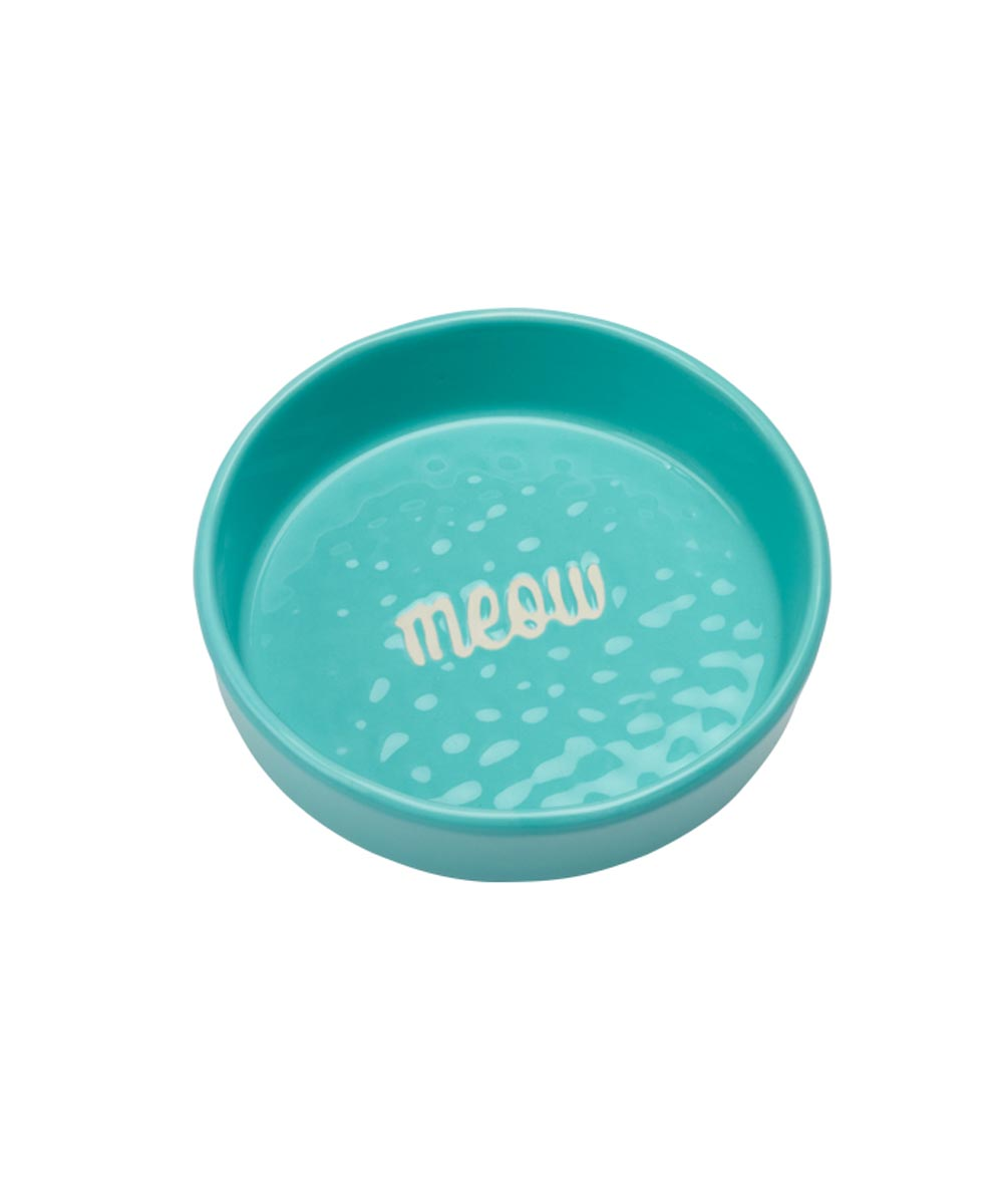 ORE' PET Etched Meow Cat Food Bowl, Aqua