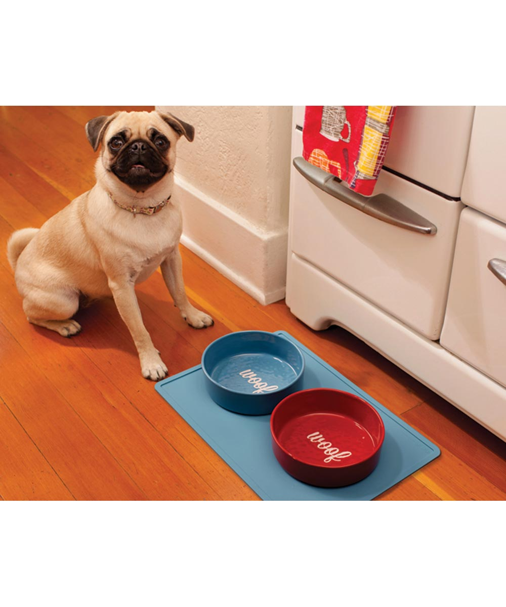 ORE' PET Etched Woof Dog Food Bowl, Blue
