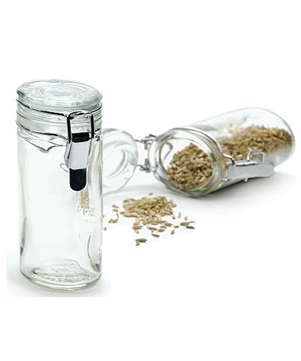 4 Ounce Clear Oval Glass Spice Jar with Locking Lid