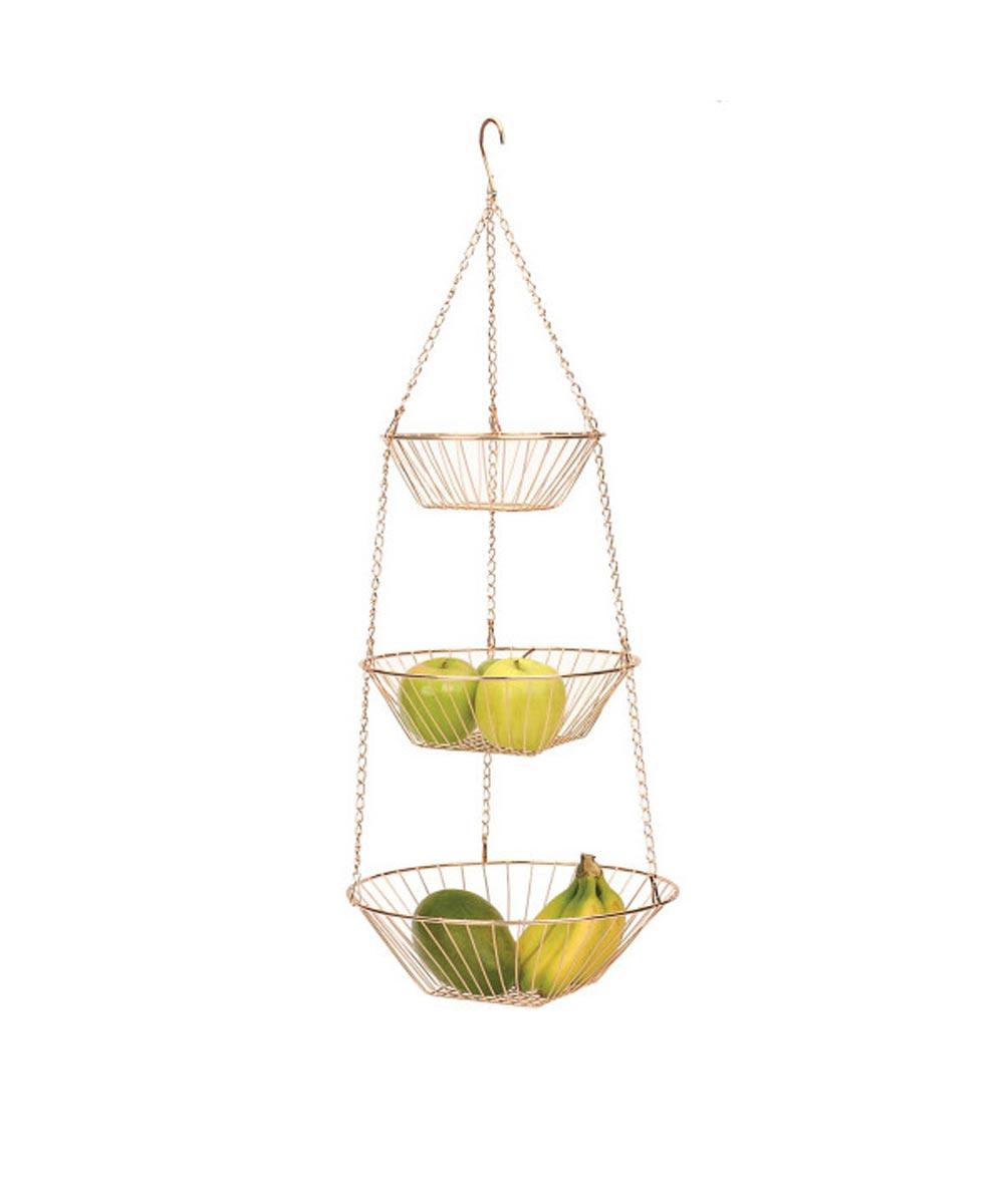 3-Tier Copper Wire Hanging Basket