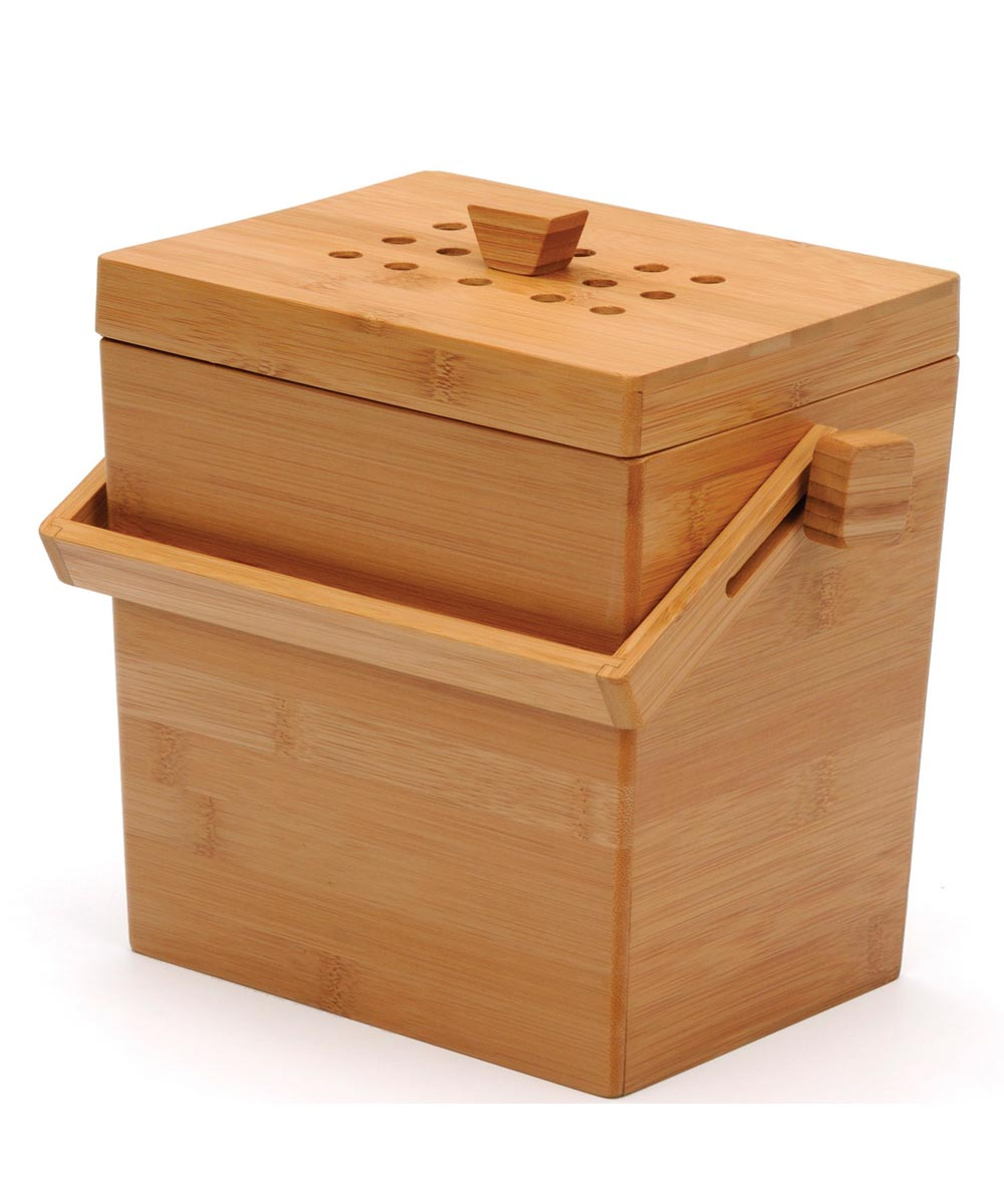 4.5 Quart Square Bamboo Compost Pail