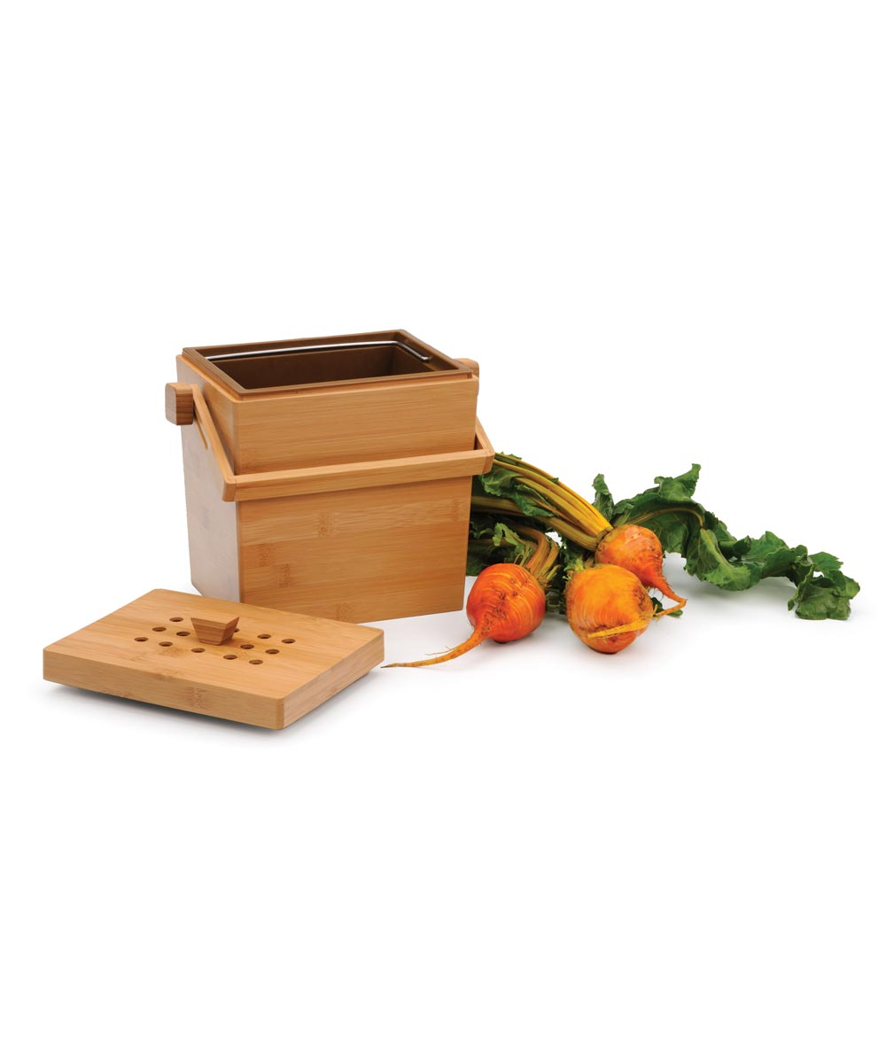 4.5 Quart Square Bamboo Compost Pail