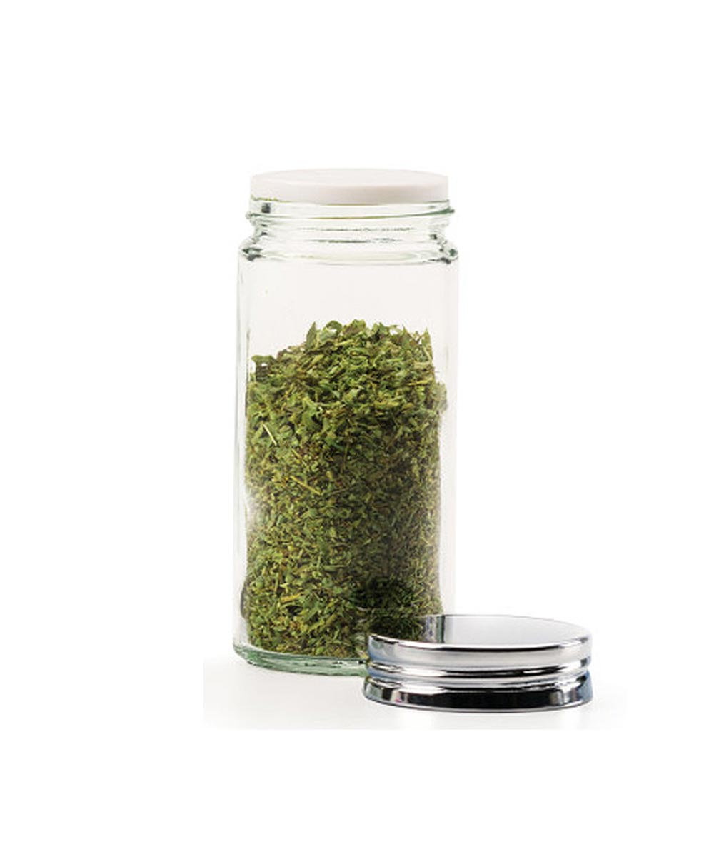 3 Ounce Clear Round Glass Spice Bottle
