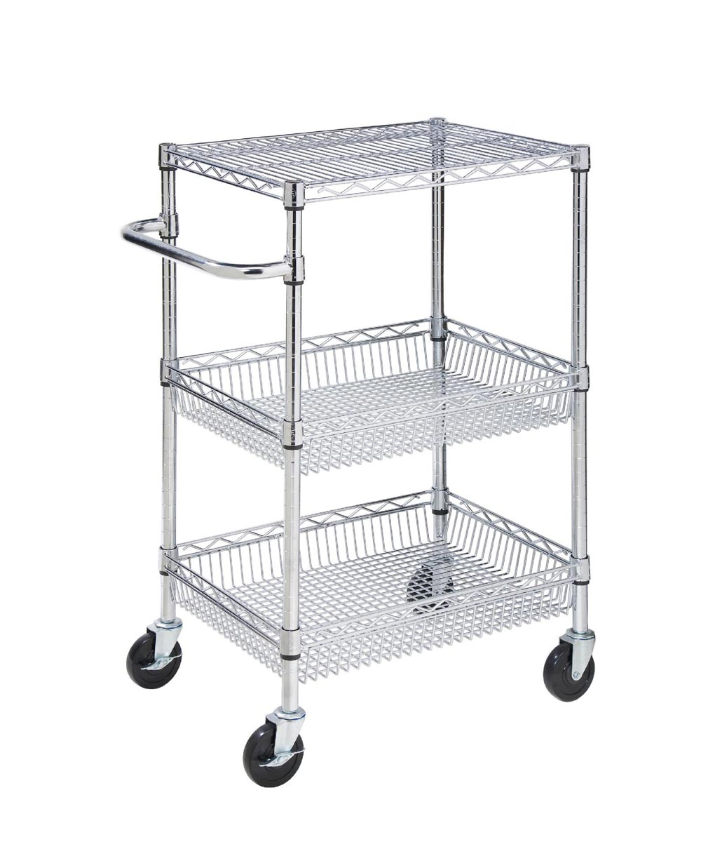 3-Tier Rolling Urban Utility Cart, Chrome