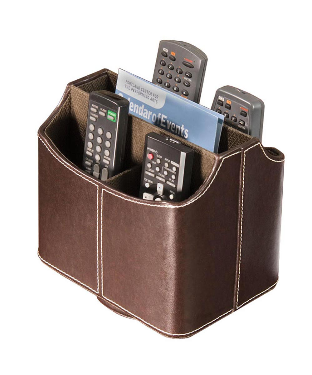 Spinning Remote Control Organizer, Faux Brown Leather