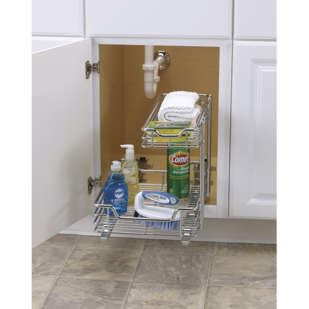 2-Tier 12.5x17.75 Inch Glidez Sliding Under-Sink Organizer, Chrome