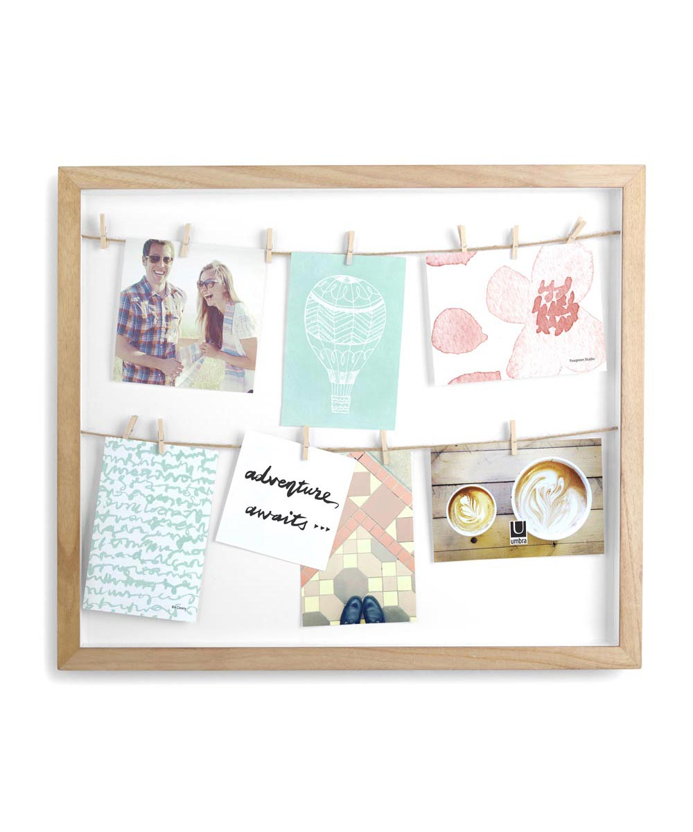 Clothesline Photo Shadow Box Display, Natural Color