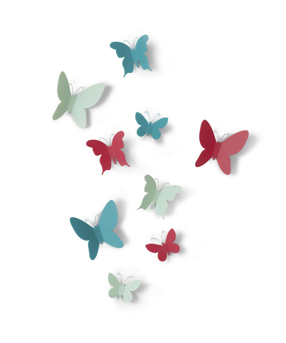 Mariposa Color Butterflies Wall Decoration, Set of 9