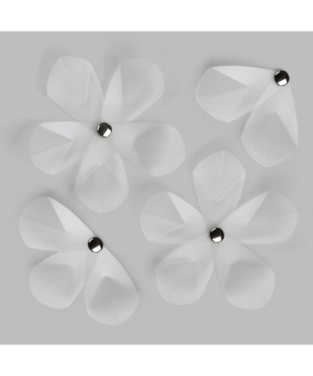 Aerial Frosted Flowers Wall Decoration, Set of 12