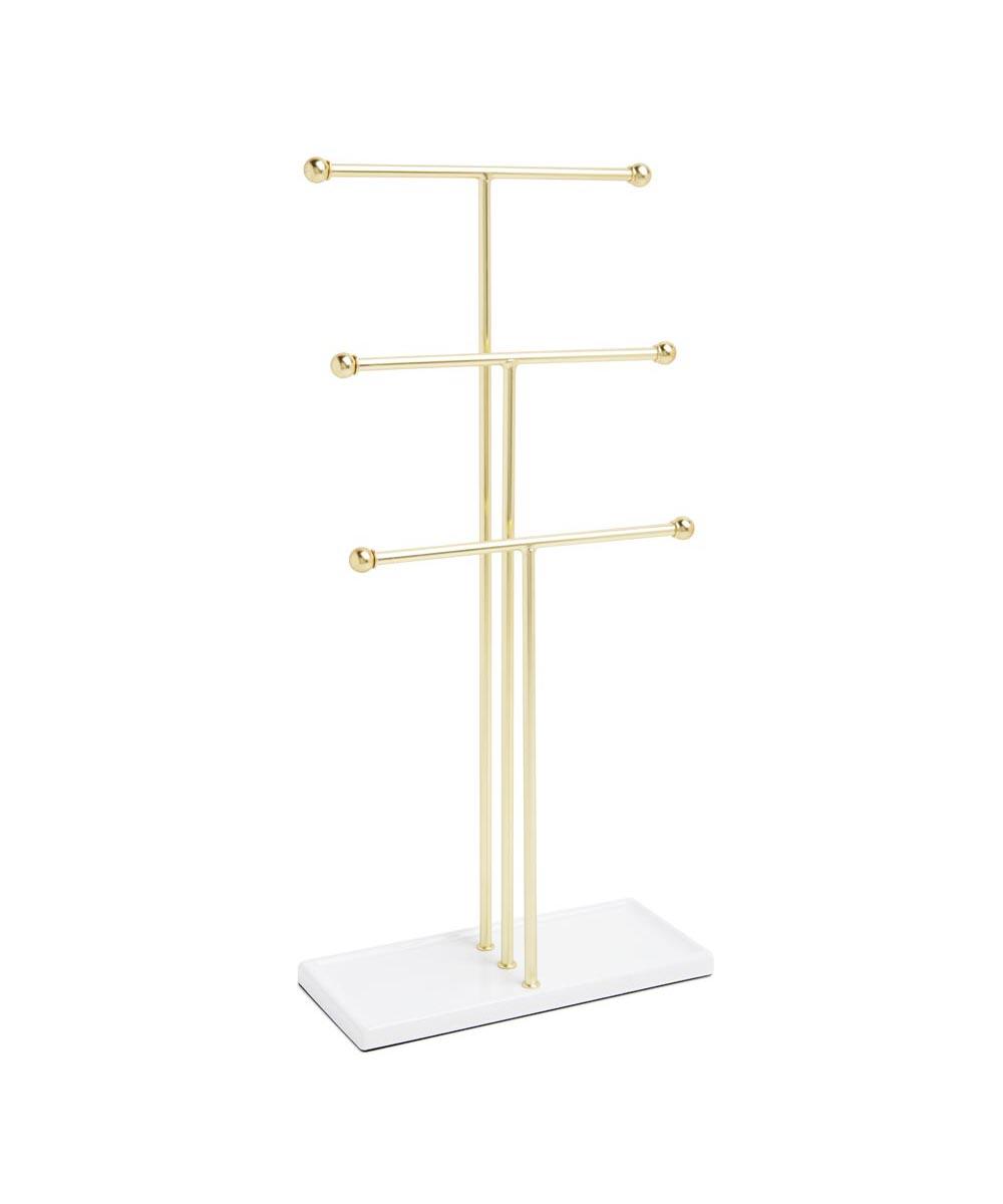 Trigem 3-Tier Jewelry Tree Stand, Brass