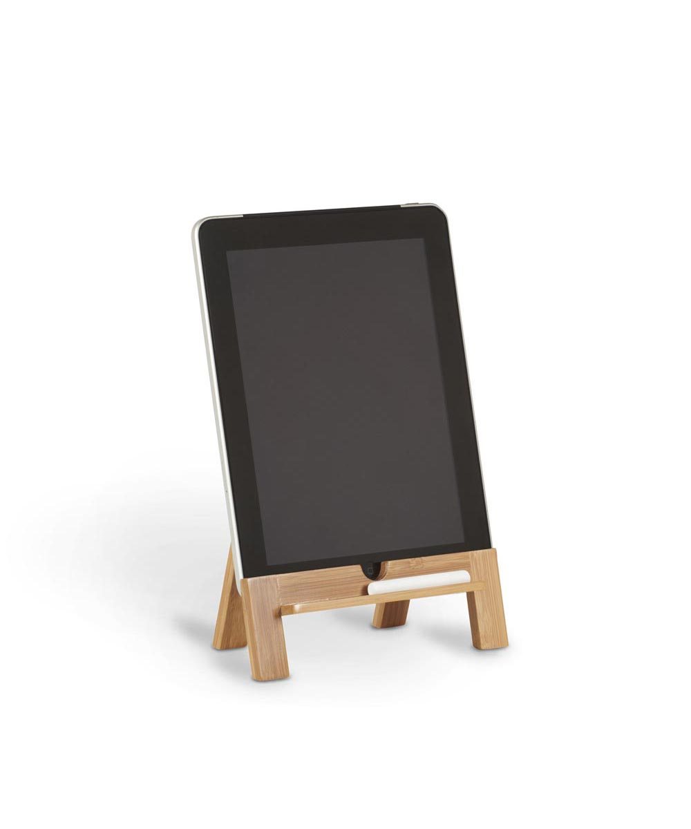 Old School Wooden Tablet Stand with Stylus