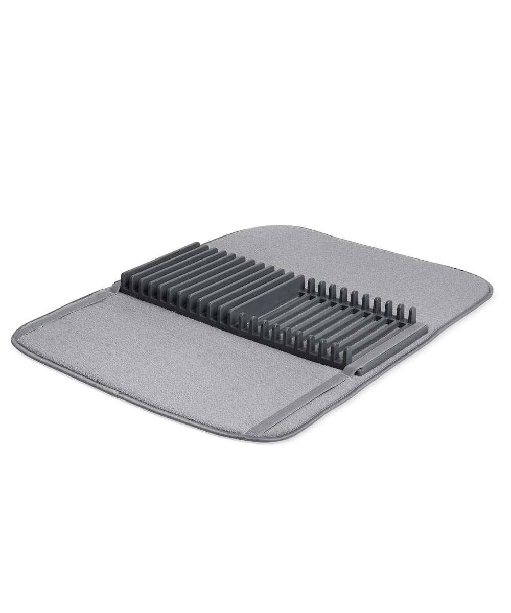 UDry Dish Drying Mat with Rack, Charcoal